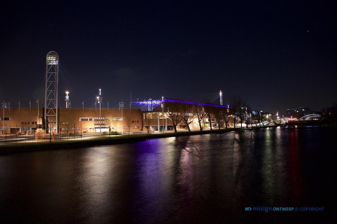Olympisch Stadion Amsterdam tijdens Olympische Winterspelen in Sochi Rusland. Ook op het Olympisch Stadion in Amsterdam is het Olympisch vuur ontstoken voor Sven en Irene! Impressive!