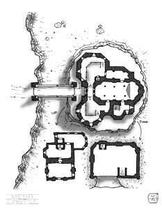 A map of a castle built on top a mesa.