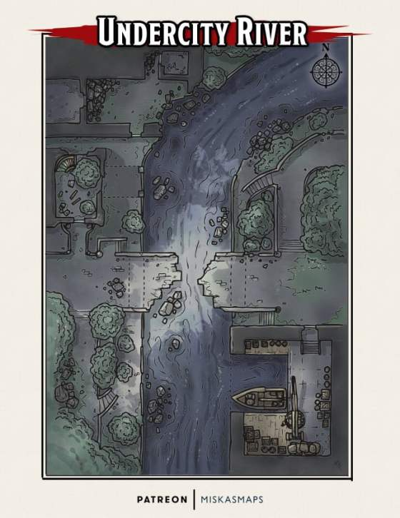 A map of a ruined undercity block with a river running through the map.