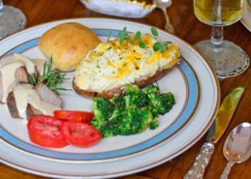 Pork Tenderloin, Twice-Baked Potatoes, and Baked Broccoli are highlights of the menu.