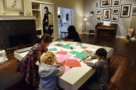 Get crafty in the living room section of the home gallery by drawing a quilt square on paper and adding it to the quilting table.
