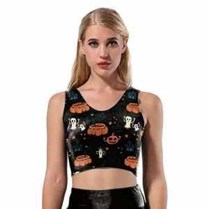 Dihope Femme 1 Pièce Survêtement Toussaint T-shirt sans Manches Imprimé Citrouille Collant Pantalon Longue pour Fitness Yoga Sport
