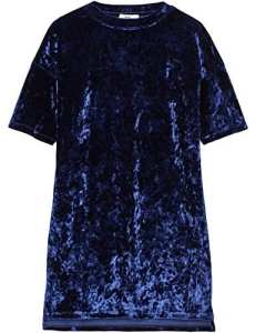 FIND Robe T-Shirt Manches Courtes Velours Femme, Bleu (Navy), 48 (Taille Fabricant: XXX-Large)