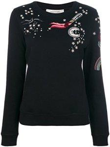 Valentino Femme Nb3mf03i3dv0no Noir Coton Sweatshirt