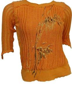 Womens Ladies Italian Plaine See Through shirt ras du cou à manches courtes Top 10 12 18