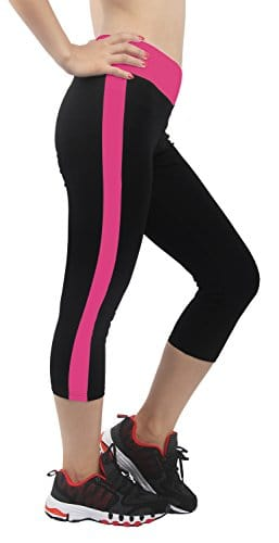 4How® Femme Legging court collant Sport Yoga Fitness, Noir&Fushia, Taille M