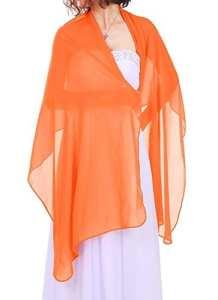Dressystar Elégante écharpe/Foulard en Mousseline de soie unicolore pour soirée/bal orange 160cm*50cm