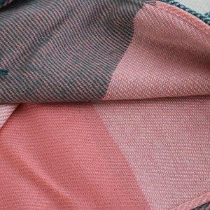 FENTI Echarpe Longue en Carreau Multicoloré Châle Chaud en Cachemire Etole pour Femme Bleu+Gris