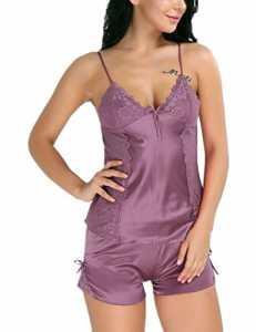 IINIIM 2 PC Vêtement de Nuit Femme Fille à bretelles en Dentelle Floral Nuisettes Dos nu Bowknot Satin Top Veste de Pyjama Shorts Sets Taille S-XXL Marron L