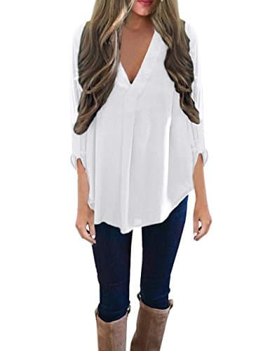 ISASSY Chic Chemise Femme Manches Longues 3/4 Fluide Col V Chemisier Tunique – XL – Blanc – FR42