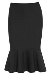 Jupe Noire avec Ourlet Peplum – Femme, Noir, EU 38