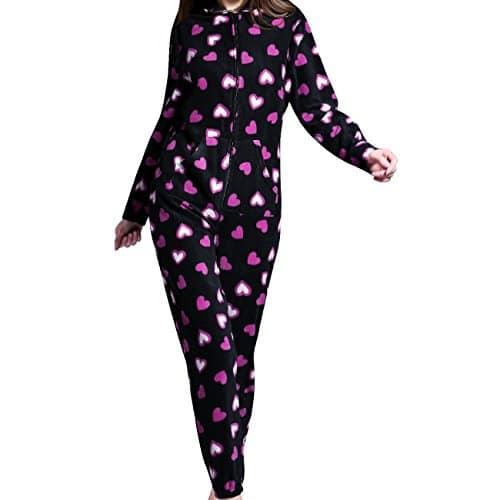 Mesdames Grenouillères – Définir les dames dans un Pyjama – Combi une combinaison lingerie de nuit – Pyjamas (EU 40-42, Motif coeur noir)