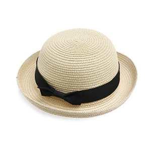 WINOMO Chapeau de Paille Femme Chapeau Melon (Beige Noir)