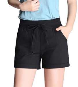 YiLianDa Femmes Été Mini Casual Pantalons Courts Taille Haute Sport Shorts Noir XL