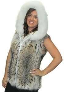 25 » lynx fourrure naturelle zip veste de renard attachée capuche bordée
