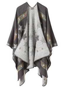 DJT Cape Poncho Femme Tricot Carreaux Tartan Style Hiver Gris-Etoile