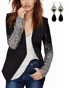 M-Queen Femme Blazer OL Slim Manches Longues Veste Paillettes Tops Bouton Courte Cardigan Chemisier Manteau Jacket – Noir – Taille Asian-2XL