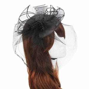 Yannerr 6 Couleurs Mariage Fascinator Voile Plume Bande dure Bandeau Chapeaux Femmes Mariées Accessoires Pour Cheveux (Noir)