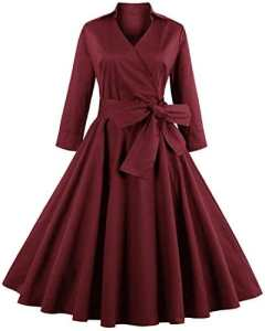ZAFUL Robe Vintage années 1950 's Style Audrey Hepburn Rockabilly Swing Manches Longues Robe de Soirée Cocktail Rétro Grande Taille A-line Col V – Bordeaux – 3XL