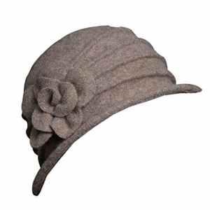 Chapeau Fedora Femme Hiver en Feutre, Brawdress Chapeau Laine Floppy avec Décoration Fleur Automne Chaud Hat Bonnets 9 Couleurs (Kaki)