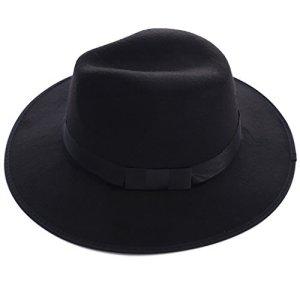 Chapeau Feutre Casquette Chapeau Bob Femme Fille Élégant Noir