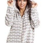Combinaison pyjama à capuche polaire ultra douce fermeture Éclair à l'avan motif coeurs blanc 42/44