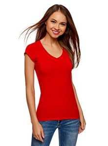 oodji Ultra Femme T-Shirt Basique, Rouge, FR 36/XS