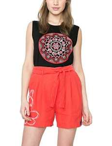 Desigual Lis – Short – Femme – Rouge (Rojo Roja) – W32 (Taille fabricant: 32)