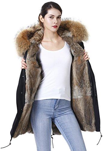S.ROMZA Femme Manteau Longue chaud à capuche Vestes hiver angora Fourrure blousons (S/34, Noir & Kaki)