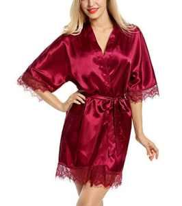 Avidlove Kimono Femme Dentelle en Satin avec Ceinture 2Pcs(Rouge,S)