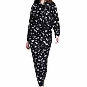 Grenouillères Femme Combinaison Pyjama à capuche en polaire Onesies Airee Fairee (EU 38, Motif de patte noire)