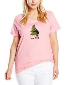 Hatley Women'S Jersey Tee -Book Animals «Bear Hug» – Haut de pyjama – Femme – Rose – Small (Taille fabricant: Small)