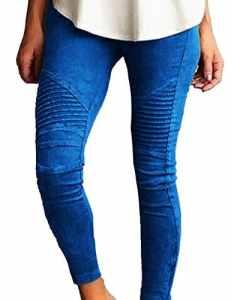 Junshan Leggings Femmes Grande Taille taille surdimensionnée Crayon Strech stretch coloré pour femmetaille Skinny Taille Haute Crayon Pantalon Slim Fit (Bleu, 46)