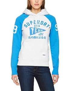 Superdry Sdry Team Sport Raglan, Sweat àCapuche Femme, Grigio (Ice Grey/Surf Blue), X-Small