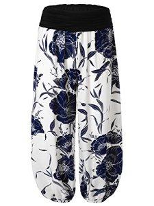 BAISHENGGT – Femme Pantalon bouffant large bande Imprime Taille haute Stretch Blanc-fleur Taille Unique