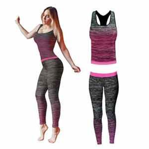 Bonjour – Vêtements de sport pour femmes: ensemble veste / gilet et top / legging, stretch-fit pour yoga et gymnastique, Pink Vest Top, One Size ( UK 8 – 14 )