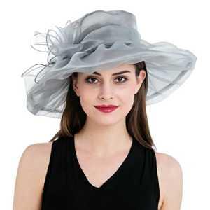 Dantiya – Chapeau bibi mariage Femme Amovible Mousseline de soie Elégante (argenté)