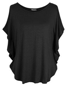 Emma & Giovanni T-Shirt Style Chauve Souris – Femme (Noir, XL/XXL)
