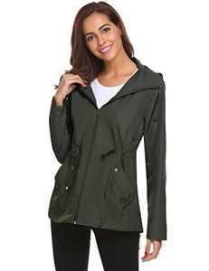 Femme Vestes Coupe-Pluie Manteaux Imperméables à Capuche Pliable Blouson avec Capuche