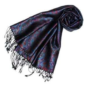 LORENZO CANA Pashmina pour la femme – écharpe de 100% soie avec les mesures de 55 x 180 cm – fait à la main – souple élégant en violet gris marron bronze bleu