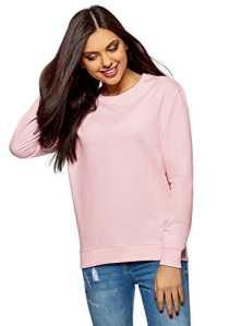 oodji Ultra Femme Sweat-Shirt Basique en Coton, Rose, FR 42 / L