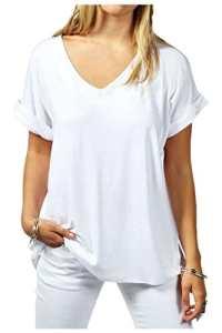 Beaii Femme Col V Revers Manches surdimensionné Top Baggy grande taille Manches chauve-souris Décontracté T Shirt