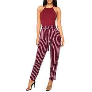 Familizo❤️Femmes Taille Haute Longues Pantalons Minces, Pantalon Décontracté à Rayures (Small, Du vin)