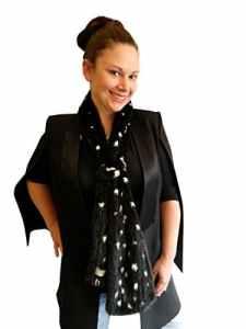 FursNewYork haut noir tricoté vison silencieux blanc pointillé de fourrure de vison