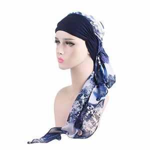 iShine Turban de Femme Bonnet avec Bandeau Elastique Hijab Chimio Chemo Casquette Turban en Mousseline Respirant Capuchon Musulman Coiffure en Chiffon Bleu foncé