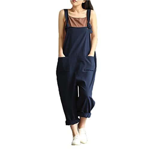 Salopette Femme, Xjp Hot Coton Casual Pantalon de Ceinture Ample Harem Pantalon Combinaison Overall Pants 3 Couleurs (L, Bleu)