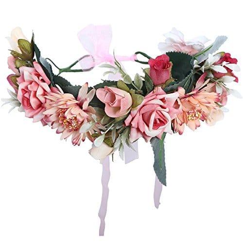 Awaytr Bandeau Cheveux De Mariage Floral Couronne Couronne