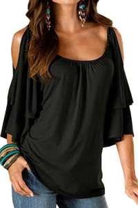 BienBien Chemise Epaule Nue Femme T-Shirt Col V Top Manches Courtes Chauve-Souris Haut Mode Blouse Tunique Couleur Unie de Soie Eté Casual