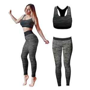 Bonjour – Vêtements de sport pour femmes: ensemble veste / gilet et top / legging, stretch-fit pour yoga et gymnastique, Black Crop Top, One Size ( UK 8 – 14 )