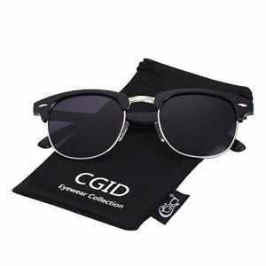 CGID MJ56 Lunettes de soleil demi-cerclées écailles demi monture inspirées Premium avec rivets métalliques